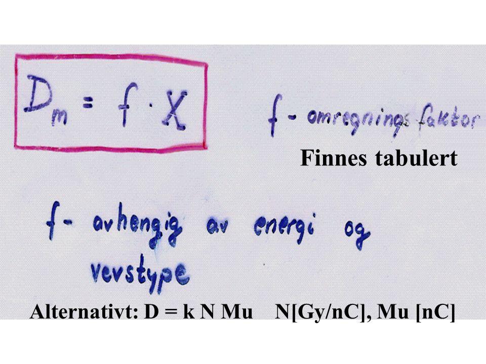 Finnes tabulert Alternativt: D = k N Mu N[Gy/nC], Mu [nC]